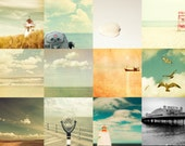 Beach prints nautical decor pastel colors sea sand summer vacation coastal  - Set of 12 5x5 photos
