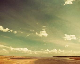 Landscape photography, rustic decor beach photo ocean print cloudy sky summer eternity ocean photo print - Expanse 8x12