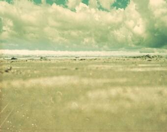 Sea green ocean photography, beach art, ocean waves, storm clouds, shabby chic decor, outdoor photo  Print Impending 8x8