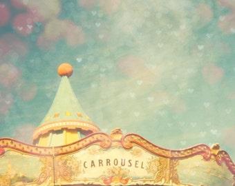 Nursery decor, pastel colors, carousel, new baby, art for kids room, carnival art, circus, nursery wall art, Barcelona, art for children