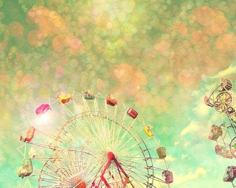 Nursery art, color photography, baby girl, ferris wheel print, carnival, pink and yellow art, toddler, little girl room decor, nursery decor