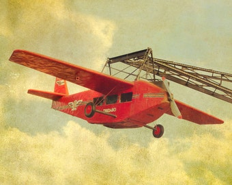 Red Airplane Carnival photography  nursery art boys room olive green gold Barcelona Spain
