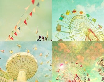 Carnival photos, home decor, nursery art, turquoise, ferris wheel, wall art, baby, circus - Set of 4 5x7 prints