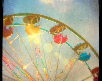 Ferris wheel photography carnival print TTV surreal blue painting summer fair nursery decor rainbow state fair new baby