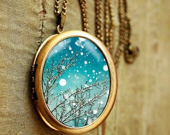 SALE - Photo locket trees falling snow blue sky winter photography - Fine Art Photo pendant Necklace - Grande Edition for nature lovers