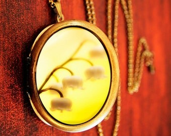 SALE - Photo locket yellow flowers romantic spring photography - Bells - Fine Art Photo Locket Necklace - Grande Edition for gardeners