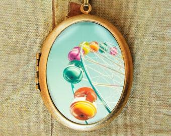 Photo locket photo pendant Ferris wheel cotton candy colors - Rainbow Wheel - Fine Art Photo Locket Necklace - candy color ferris wheel