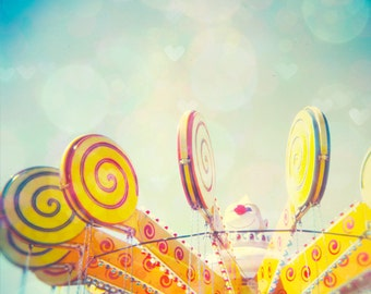 Circus art carnival photo nursery decor clown candy cane children print pale blue Fine Art Photo Lollypop Love 8x8