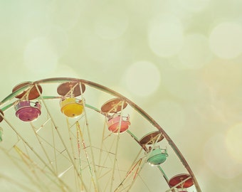 Summer vacation fun fair carnival photo olive green ferris wheel bokeh wall art whimsical home decor summer photograpy