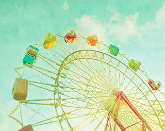 Carnival photography, nursery wall art, childs room, circus photo, home decor, nursery art, turquoise, ferris wheel, wall decor