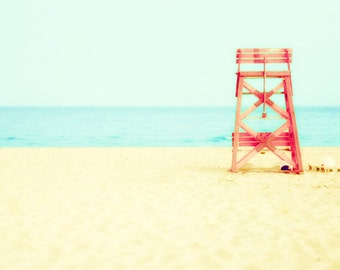 Beach photo, red chair, lifeguard, aquamarine blue, sandy beach, sun worship, chillaxing, modern summer decor