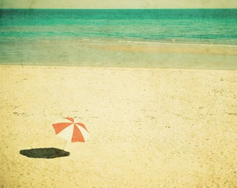 Beach photography red and white beach umbrella sandy beach turquoise ocean film photography seaside holiday - Solstice 8x10