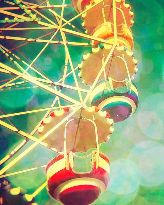 Photography print circus photo nursery print vintage ferris wheel emerald green print barcelona wall art by bomobob Tibidabo 16x20