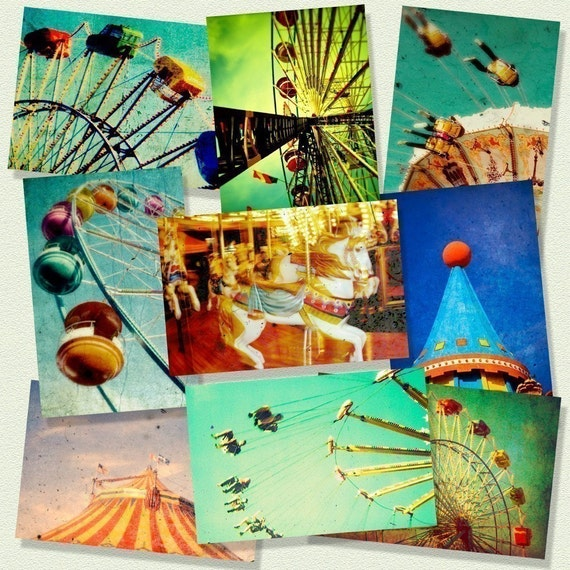 Carnival photography, nursery art, decor for a little boy's room, carousel, set of small prints, circus art