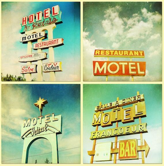 Vintage neon signs,  print collection, car trip, retro modern -  Roadtrip Set of 4 5x5