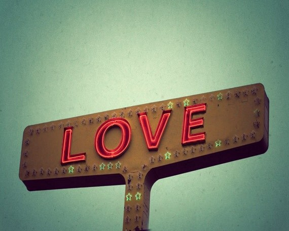 I love you, wedding, anniversary, valentine, love, romantic photograph, red whimsical vintage sign Texas Photo Print