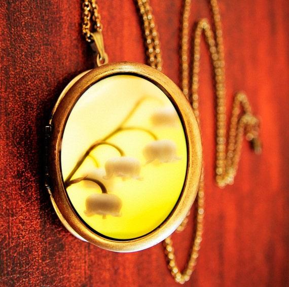 SALE - Photo locket yellow flowers romantic spring photography - Bells - Fine Art Photo Locket Necklace - Grande Edition for gardeners