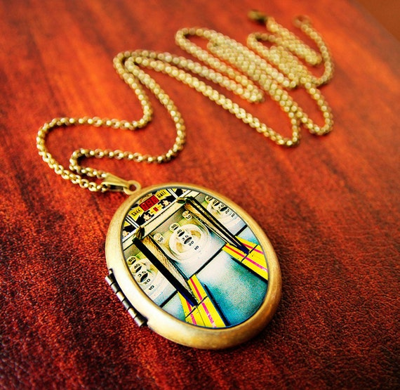 SALE - Carnival photography arcade game whimsical art - Skee Ball - Fine Art Photo Locket Necklace - Grande Edition from Polaroid transfer