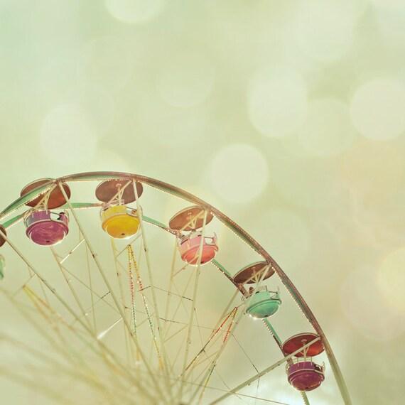 Summer vacation fun fair carnival photo olive green ferris wheel bokeh wall art whimsical home decor summer photograpy