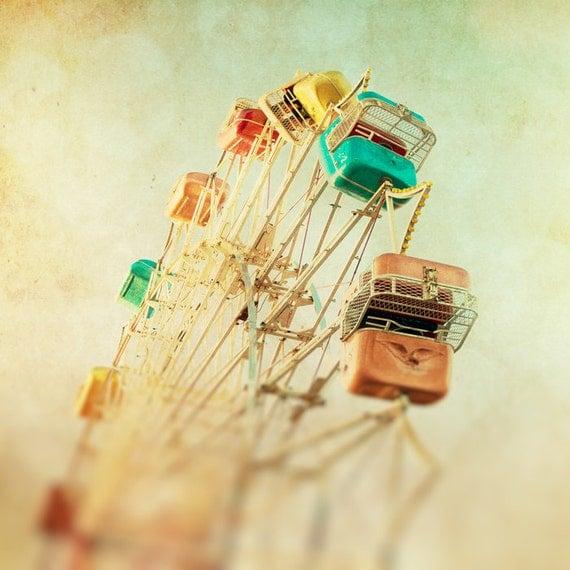Dreamy ferris wheel misty peach carnival summertime beige fog rainbow vintage whimsical print  - Head Over Heels 8x8
