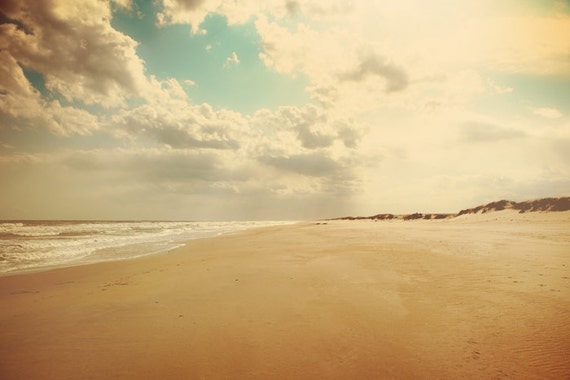 Landscape photography, ocean photograph, sandy beach, north carolina, cape hatteras, turquoise sky, cloud photography