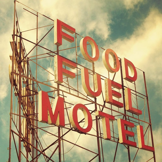 Vintage Motel Sign Red Letters Travel Photo Kitchen Art Guest
