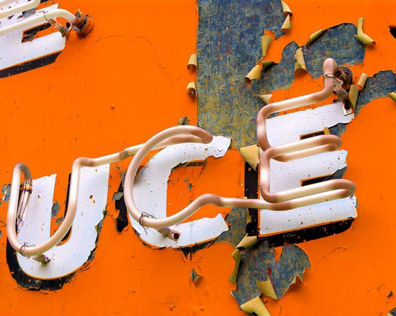 Orange accent decor vintage sign photo tangerine tango citrus neon sign peeling paint pumpkin letters  - UCE 8x10