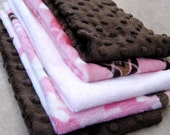 SALE....Minky precut fabric pieces (5).  Great for burp cloths.  1 pink argyle, 1 pink camo, 2 brown and 1 pink.