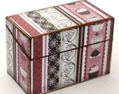 ON SALE Wood Recipes Box Pink and Brown Cupcake Shabby