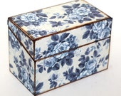 Wood Recipe Box Denim Roses Blue and White READY TO SHIP