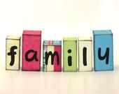 Family Wood Block Shelf Sitters Pink, Blue, Green Black