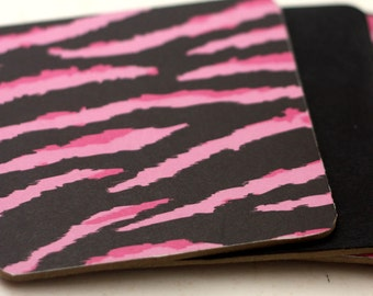 Wood Coaster Pink and Black Zebra Print