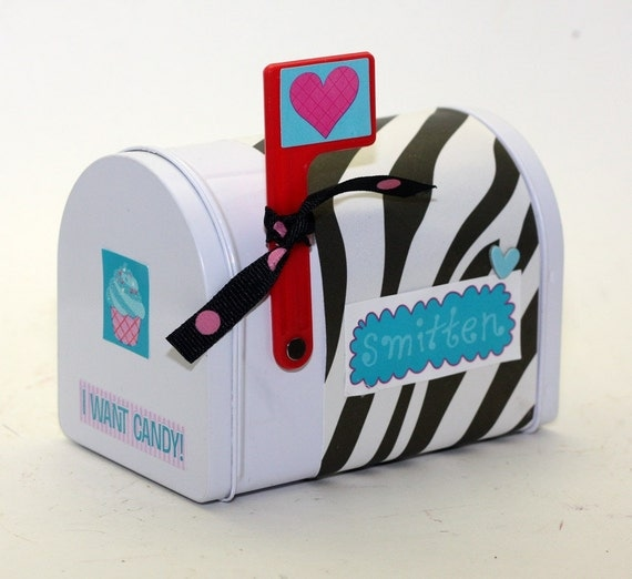RESERVED Valentine's Day Mailbox Mail Box Zebra Print With Blue Accents