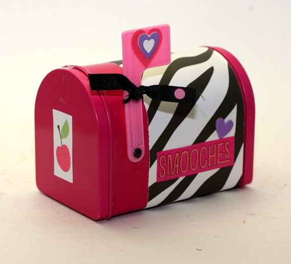 Valentine's Day Mailbox Mail Box Pink With Zebra Print