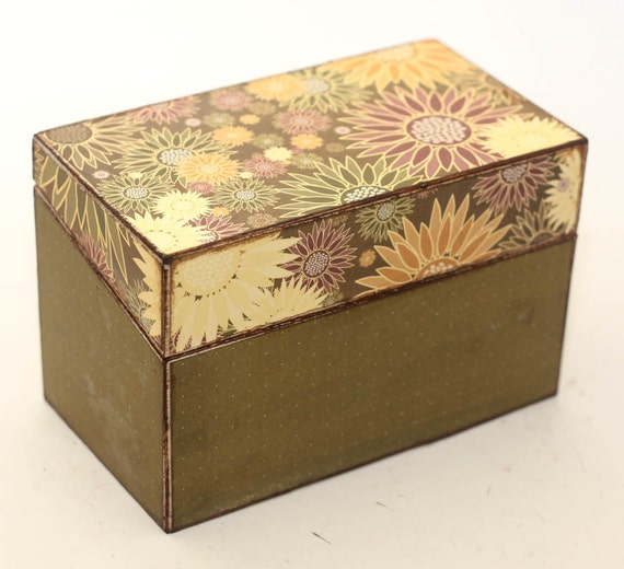 Recipe Box Wood Rustic Sunflowers Fits 4x6 Cards READY TO SHIP