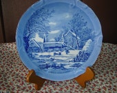 Vintage Blue Plate FARMER'S HOME WINTER by CURRIER\/IVES