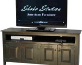 Black 60 inch Brazos TV Stand with EZ Access Back Panel |  Handmade to Order