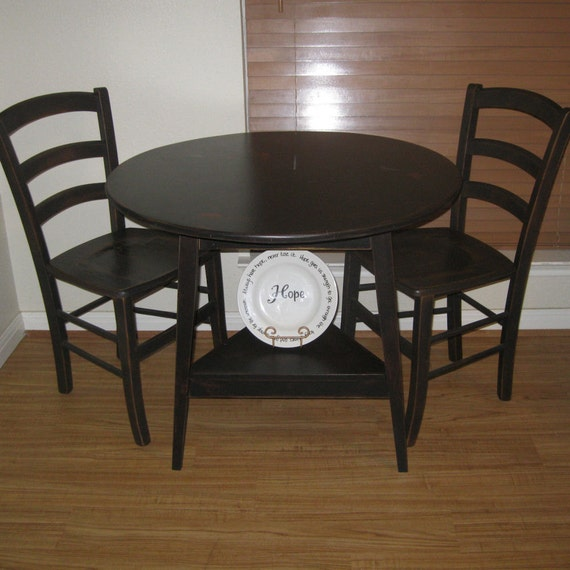 Black Kitchen Table Chairs: Items Similar To Small Primitive Black Round Kitchen Table