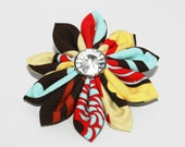 Fabric Flower Clip - Calico Mocca-Red