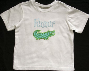 Boutique Alligator Name Initial Monogram Tee