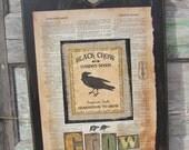 Primitive Sign Crow Rustic Farmhouse Wall Decoration Black Brown