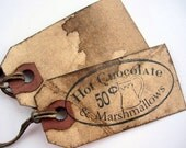 Christmas Tags, Gift Tags, Primitive, Rustic, Hot Chocolate, Label, Set of 12, cssteam, ofg team, primitive Tags, primitive christmas, Cocoa