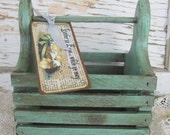 Primitive Easter, Box, Basket, Aqua, Toolbox, Primitive Decor, Cottage Chic, Organization, Tag