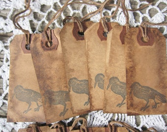 Primitive Tags Crow Raven autumn Halloween fall Handstamped Rustic Party Favors, Party Decor Labels gifts