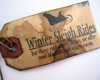 Christmas Tags, Primitive, Rustic, Sleigh Rides, Set of 12, cssteam, ofg team, cwwofg
