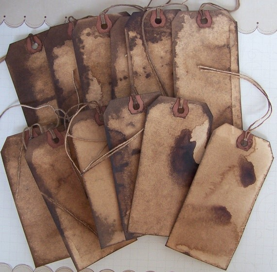 Primitive Tags Grubby Grungy 12 LARGE Altered Art and Prim Crafts