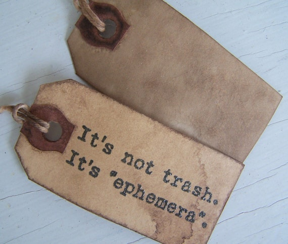 Primitive Tags Stained Grubby Handstamped Ephemera by sweetlibertyprims on etsy