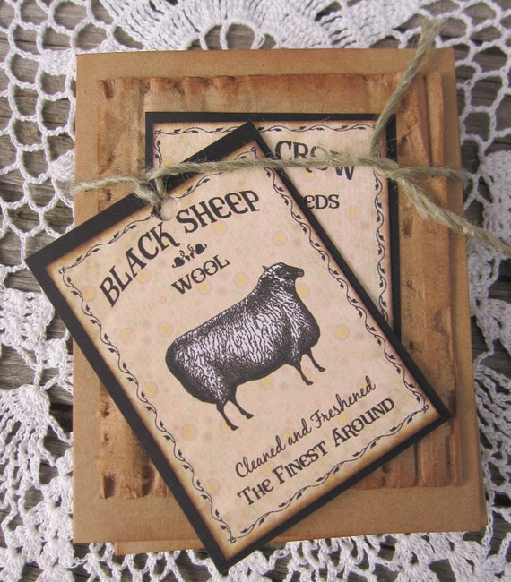 Primitive Cards Tag Sheep Crow Rustic Notecard Set