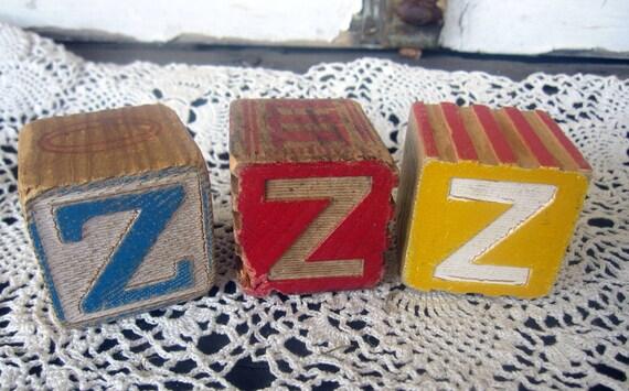 Vintage Blocks, ZZZ, Antique Toy Wood, Wooden, Alphabet Blocks, Primitive, cssteam, ofg team