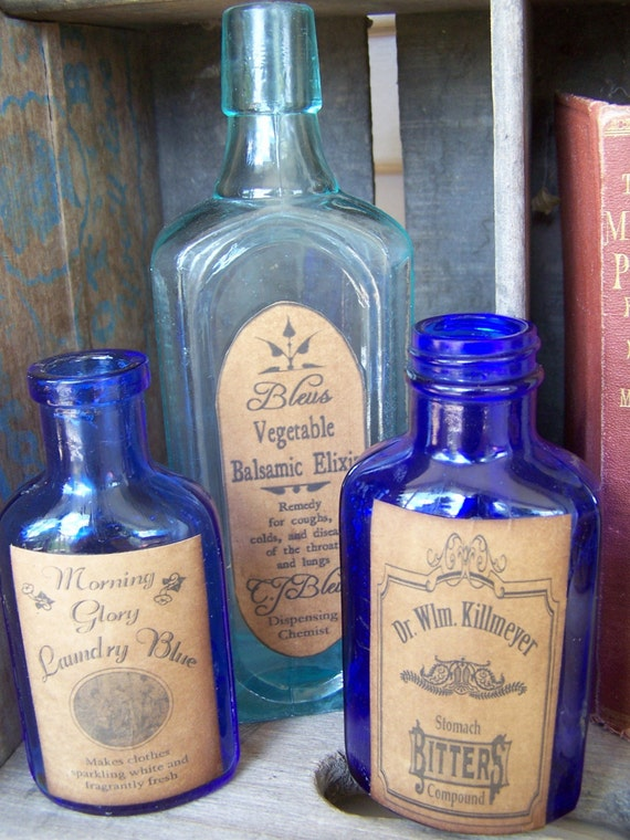 3 Vintage Blue Bottles With Primitive Reproduction Antique